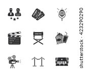 nine modern cinema icons | Shutterstock . vector #423290290