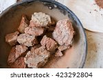 building clay kiln process | Shutterstock . vector #423292804