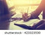 close up of businessperson... | Shutterstock . vector #423323530