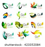 set of abstract leaves. nature... | Shutterstock .eps vector #423352084