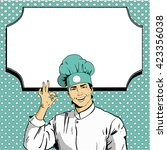 chef shows ok sign with blank... | Shutterstock .eps vector #423356038