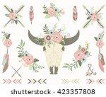 floral tribal bull skull   Shutterstock .eps vector #423357808