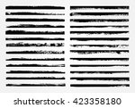 Stock vector vector brush strokes set of grunge edges grunge borders 423358180