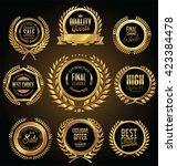 golden medallion with laurel... | Shutterstock .eps vector #423384478