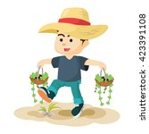 boy carrying two plant | Shutterstock .eps vector #423391108