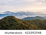 sunrise over gunung brinchang... | Shutterstock . vector #423392548