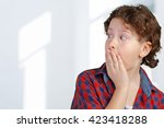 portrait of young amazed boy | Shutterstock . vector #423418288