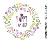 easter greeting card with... | Shutterstock . vector #423418534