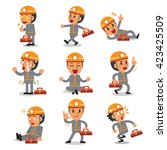 cartoon technician character... | Shutterstock .eps vector #423425509