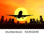 airplane on sunset sky | Shutterstock . vector #42342640