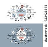 set of modern vector... | Shutterstock .eps vector #423428593