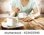 big cup of coffee on wooden... | Shutterstock . vector #423433540