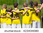 young sport team with coach on... | Shutterstock . vector #423434080