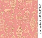 vector pattern with lemons ... | Shutterstock .eps vector #423447448