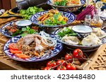 several different pilafs on... | Shutterstock . vector #423448480