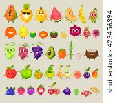 icons  fresh fruit. pineapple ... | Shutterstock .eps vector #423456394