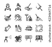 cleaning icons set. included... | Shutterstock .eps vector #423464716