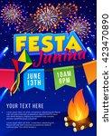 festa junina poster. brazilian... | Shutterstock .eps vector #423470890