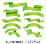 vector set of green banner or... | Shutterstock .eps vector #42347428