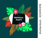 poster template of tropical... | Shutterstock .eps vector #423494398