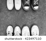 top view of old sneaker shoes... | Shutterstock . vector #423497110