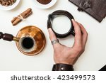milk for coffee in the hipster... | Shutterstock . vector #423499573