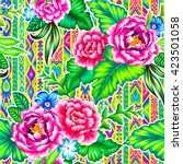 colorful mexican floral pattern ... | Shutterstock . vector #423501058