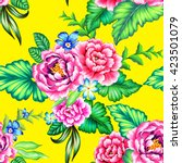 colorful mexican floral pattern ... | Shutterstock . vector #423501079
