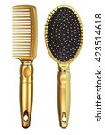 it is two gold combs isolated... | Shutterstock . vector #423514618