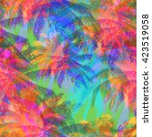tropical pattern depicting... | Shutterstock .eps vector #423519058