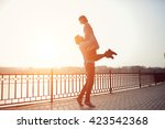 happy hipster couple on holiday ... | Shutterstock . vector #423542368