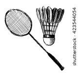 hand sketch badminton racket... | Shutterstock .eps vector #423544054