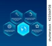 vector glassy hexagon banner.... | Shutterstock .eps vector #423566938