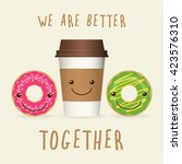 cartoon coffee and donuts with... | Shutterstock .eps vector #423576310