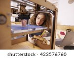 female designer working with 3d ... | Shutterstock . vector #423576760