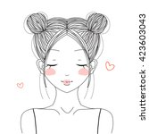 Stock vector hand drawn cute girl with double buns hairstyle smiling with hearts 423603043