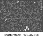 vector line art doodle set of... | Shutterstock .eps vector #423607618