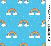 flat design  cartoon rainbow... | Shutterstock .eps vector #423609226