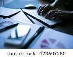 close up of typing man's hands | Shutterstock . vector #423609580