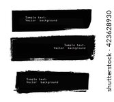 set of black grunge ink banners.... | Shutterstock .eps vector #423628930