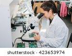microchip production factory.... | Shutterstock . vector #423653974