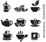 tea icons set on white... | Shutterstock .eps vector #423654208