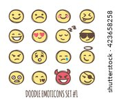 cute doodle style emoticons...   Shutterstock . vector #423658258