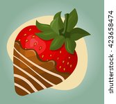 strawberry in chocolate... | Shutterstock .eps vector #423658474