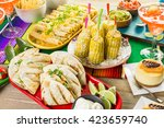 fiesta party buffet table with... | Shutterstock . vector #423659740