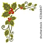 christmas  pattern with holly... | Shutterstock . vector #42366847