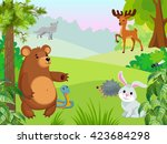 forest animals on the edge. | Shutterstock .eps vector #423684298