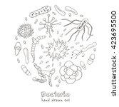 bacteria virus icons set.... | Shutterstock .eps vector #423695500