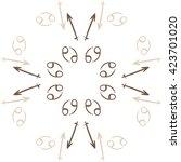 circular pattern  of zodiac... | Shutterstock .eps vector #423701020