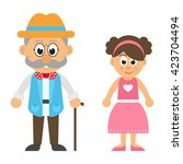 grandfather and granddaughter | Shutterstock .eps vector #423704494